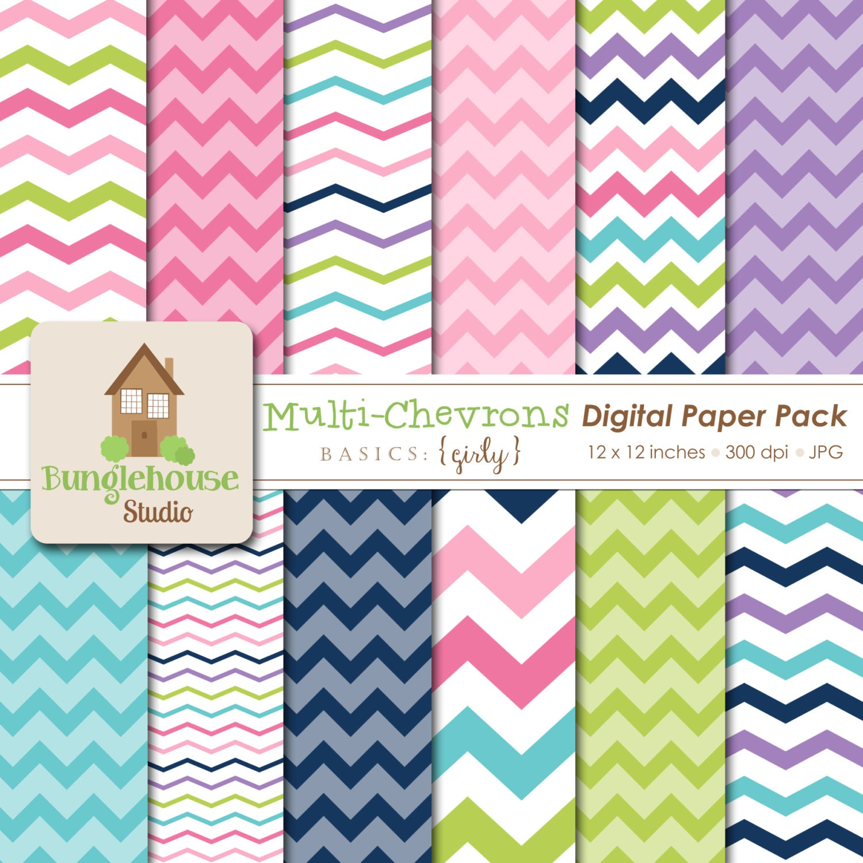 Multi Chevron Digital Paper Pack Multi Color Chevron Stripe