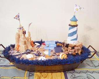 Seashell Beach Scene Diorama Table Decoration
