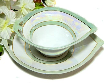 Art Deco German Lusterware Sauce Dish and Underplate Mint Green