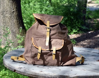 French backpack Lafuma, Military backpack, Vintage rucksack, Old mountain backpack, Brown canvas backpack, Military brown rucksack