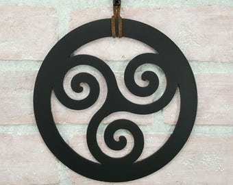 Celtic Triskelion Wall Art – Triple spiral art – Celtic home decor – Triskele – Irish Wedding Gift – Pagan Wedding gift – Pagan Altar piece
