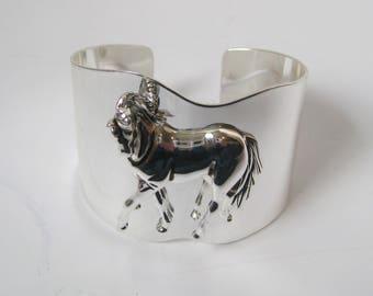 Shiny Silver Metal Horse Cuff Bracelet Jewlery Signed Best