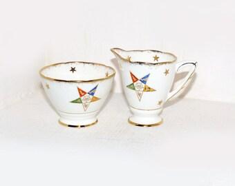 Royal Stafford Mason Eastern Star Cream and Sugar Set - 1994