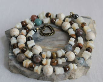 Natural and Earthy! Ivory Howlite Beaded Stone Chip Indian Agate Tiger Eye Boho Beaded Necklace White Necklace Indian Agate Necklace Design