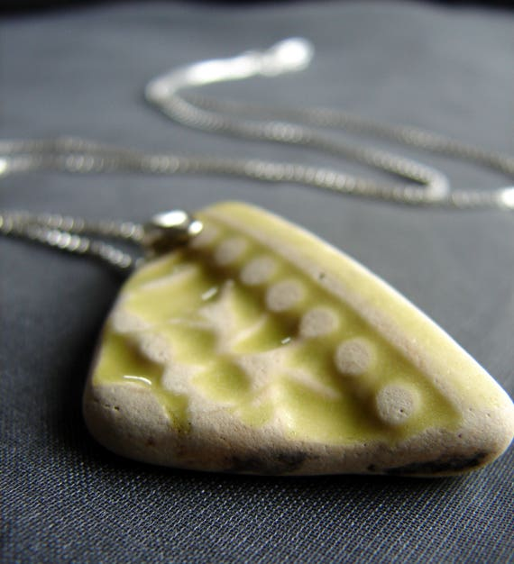 Green Ocean sea pottery necklace