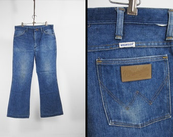 Vintage Wrangler Jeans Faded Denim Blue Jeans Made in USA Western - 35 x 30