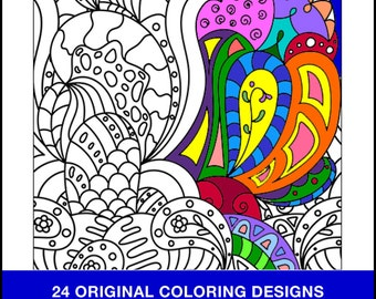 Coloring Book Pages - PRINTED BOOK - Coloring Book - 24 Original Coloring Pages