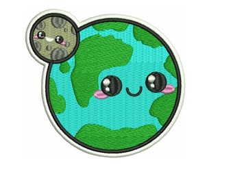 """4"""" KAWAII planet earth and moon Embroidered Iron on patch heal the world peace love"""