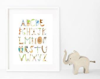 Alphabet Print, Woodlands Theme, Nursery Print, Preschool, Watercolor, Baby Shower Gift, Kids Room, Nature, Nursery Wall Art, 8x10 or 8.5x11
