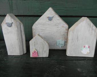 """Four houses Driftwood """"Scandinavian spirit"""" No. 3"""