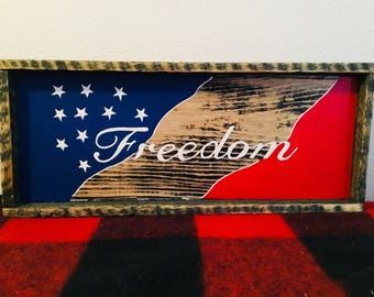 Freedom flag USA hand painted on wood