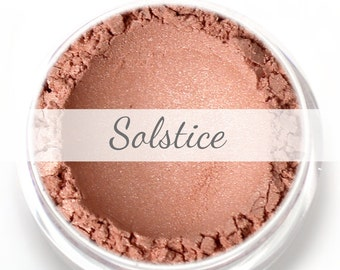 "Stardust Highlighting Powder Sample - ""Solstice"" (peach rose gold highlighter, Net Wt .5g pot) - Vegan"