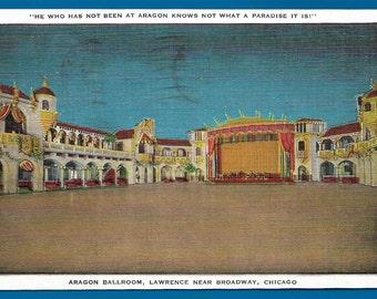 Linen Postcard   Aragon Ballroom , Lawrence Near Broadway in Chicago, Illinois  (1822)