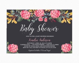 Hydrangea Flower Baby Shower Invitation, Botanical, Watercolor, Personalized, Printable and Printed