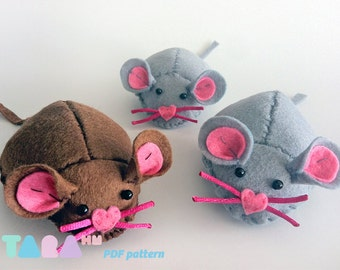 DIY Felt Pattern Mouse, Fabric Mouse Toy, Instant Download TaraMouse, PDF Sewing Pattern, Tutorial, Toy for Cats, Cat Catnip Toy, Pincushion