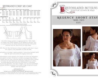 PDF DOWNLOAD Regency Short Stays Corset Pattern Size MEDIUM- Printable Costume Sewing Pattern for Empire, Napoleonic, Jane Austen