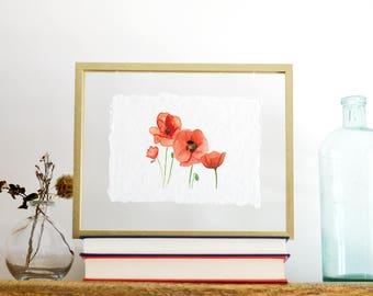 Red Poppies Print, Handmade Paper, Floral Print, deckled edge print, watercolor print, handmade paper print, watercolor wall art,