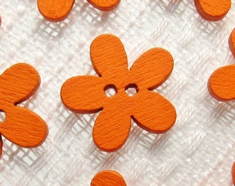 """Orange Daisy: 9/16"""" (14mm) Wooden Flower Buttons - Set of 9 New / Unused Matching Buttons"""