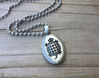 Men's Turtle Necklace- Men's Necklace with Turtle Charm on Chain of your choice