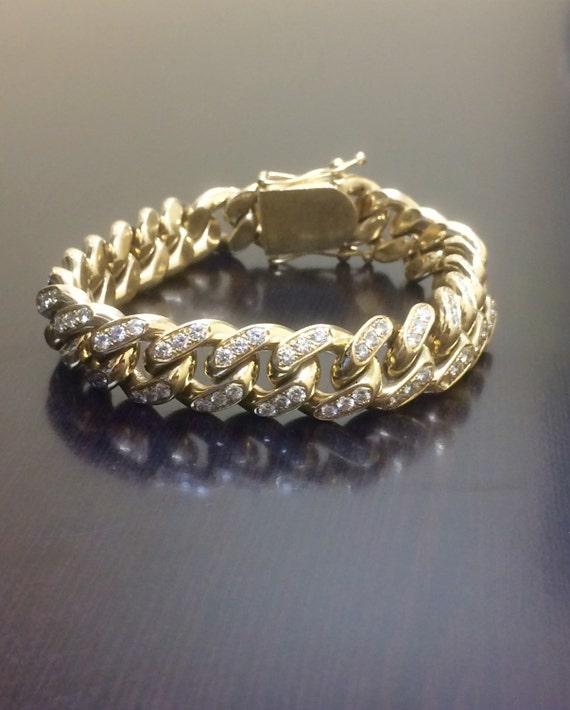 14k Yellow Gold Cuban Link Diamond Bracelet Men S