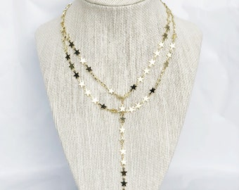 Double Layer Star Lariat Necklace