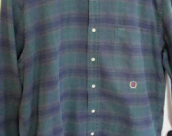Mens Green Blue Tommy Hilfiger 90s Long Sleeve Plaid Shirt M Medium