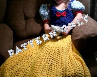 Princess Dress Blanket, Fairest Princess, Crochet pattern, Digital Download, PDF only, toddler, child, adult sizes
