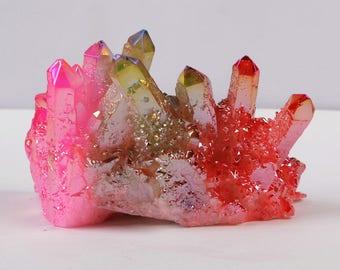 5pieces/lot,Aura Crystal Cluster,Rainbow Aura Quartz,Raw Angel Aura Rainbow Crystal,Crystals and Stones,Raw Angel Aura Cluster,Aura Crystal