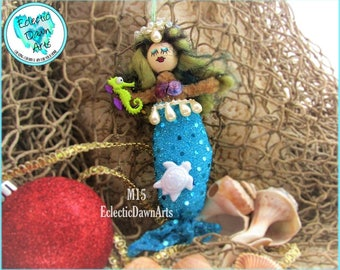 Mermaid Ornament with Seahorse and Turtle, MO15