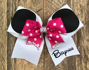 Pink Minnie Mouse Cheerleader Bow