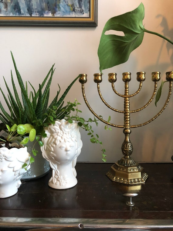 Large/solid heavy brass/ menorah / vintage/ pedestal/ stunning/ Chanukah/brass/Hanukkah/ authentic/ patina