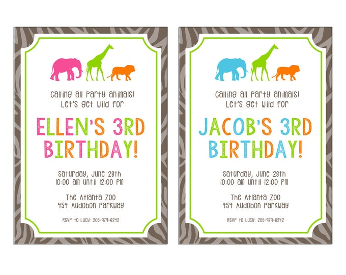 Boy or Girl Invitation Animal Safari Wild Zoo Birthday Party - Can personalize colors /wording - Printable File or Printed Cards