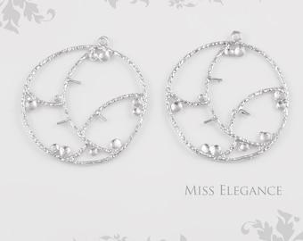 2 pcs Branch Pendants, Matte Rhodium Plated Unique Jewelry Findings // 31mm x 31mm // 5571-MR