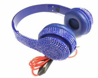 Blingustyle iridescent crystal fashion foldable ear-cup dj headphone ab-blue