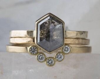Natural Rose Cut Charoal-Grey Hexagon Diamond Engagement Ring