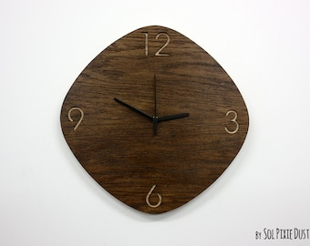 Wooden Oval Rhombus - Wooden Wall Clock