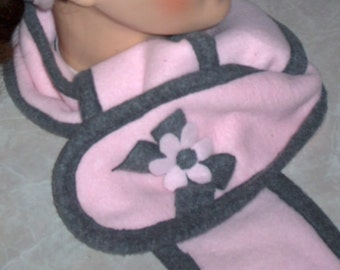 pink and grey fleece scarf