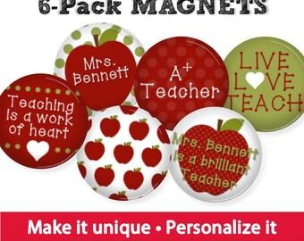 Personalized Teacher Magnets • Teacher Gift • Class Flair • Gift for Teacher Assistant • Stocking Stuffer • Apple Teacher