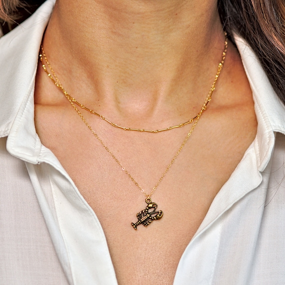 Gold Lobster Charm Necklace