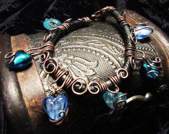 Black Leather & Copper Wirework Blue Lampwork Heart Bracelet
