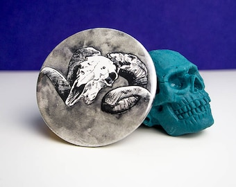Stocking Filler || Ram's Skull Pocket Mirror - Compact Mirror - Christmas Gift - Girlfriend Gift - Gift for her - Gothic Gift - hand mirror
