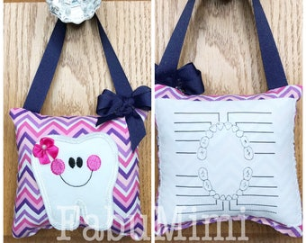 Tooth fairy pillow with tooth chart, pink and purple chevron