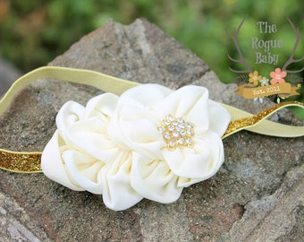 Ivory Cream Headband with Gold Glitter Rhinestone -  Photo Prop - Newborn Infant Baby Toddler Girls Adult Wedding