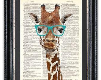 Giraffe with Glasses, Duck Face, Dictionary Art Print, Giraffe Wall Art, Funny Giraffe Poster, Cool, Funny, Gift