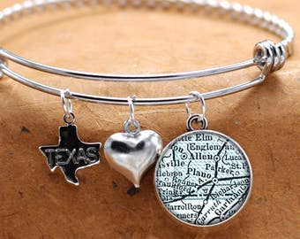 Map Charm Bracelet Plano Texas State Of TX Bangle Cuff Bracelet Vintage Map Jewelry Stainless Steel Bracelet Gifts For Her