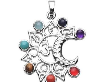 Silver plated - 7 chakras sanskrit pendant