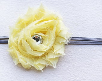 Light Yellow Shabby Rosette Flower Headband - Baby Girl - Newborn Photo Prop - Grey Skinny Elastic - Thin - Small - Summer Baby - Spring