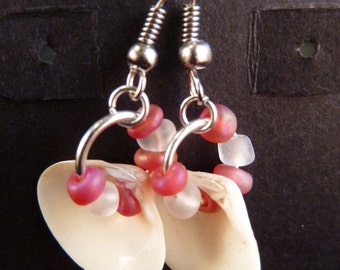 Pink and Clear Cultured Sea Glass and Shell Earrings
