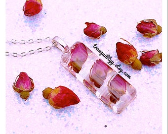 Rose Necklace, Real Rose Buds Resin  Necklace, Bohemian Necklace , Botanical Necklace Handmade By: tranquilityy