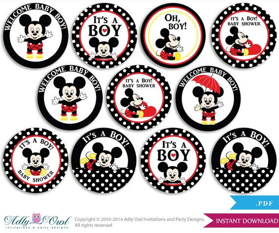 Boy Mickey Mouse Cupcake Toppers For Baby Shower Printable